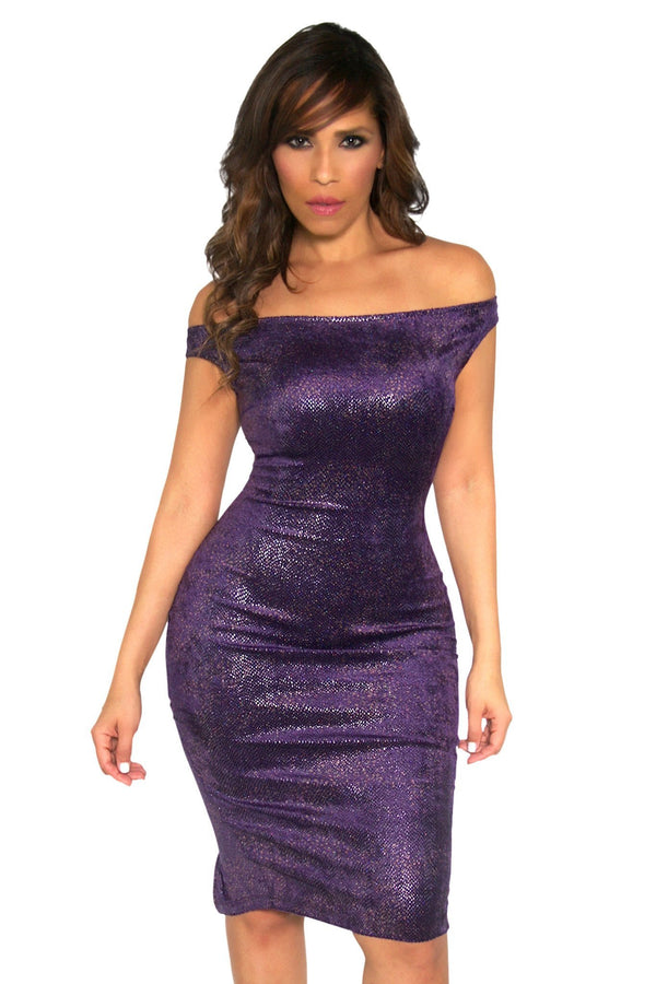 Sexy Off The Shoulders Textured Metallic Cocktail Midi Dress in Purple - MY SEXY STYLES
