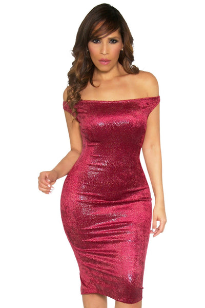 Sexy Off The Shoulders Textured Metallic Cocktail Midi Dress in Burgundy - MY SEXY STYLES