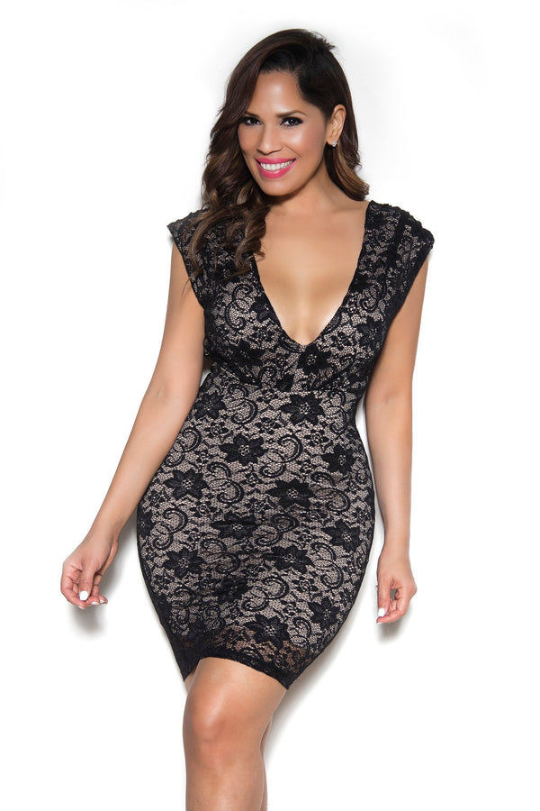 Sexy Open-Back V-Neck Lace Dress In Black - MY SEXY STYLES  - 2