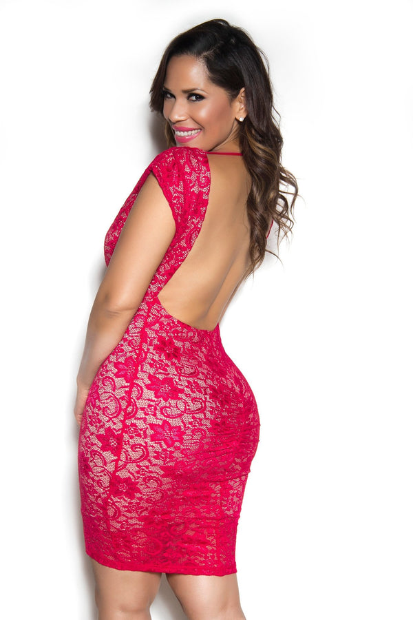 Sexy Open-Back V-Neck Lace Dress In Red - MY SEXY STYLES  - 2