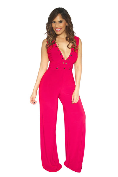 Sexy Red Double V Cocktail Party Jumpsuit - MY SEXY STYLES