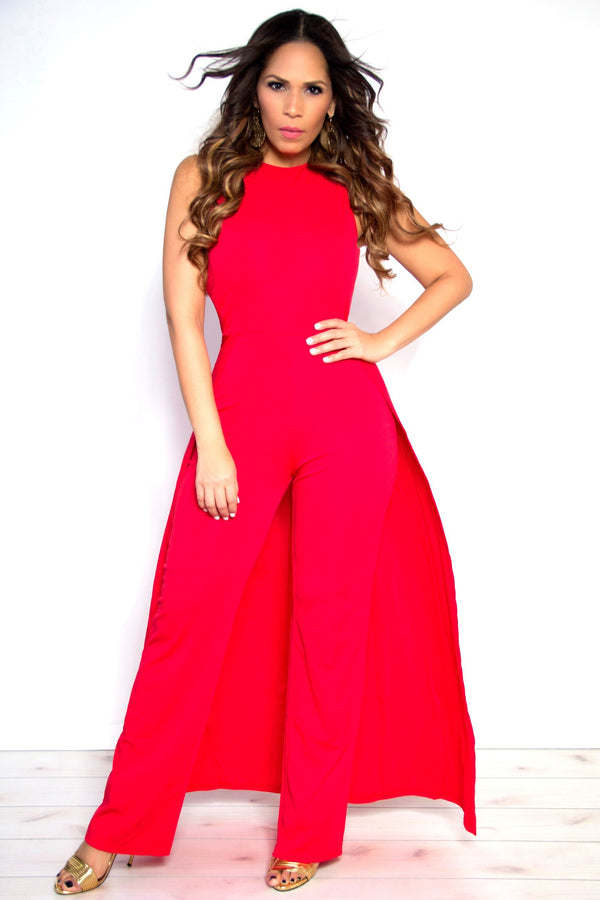 Sexy Red Sleeveless Maxi Skirt Wide Leg Jumpsuit - MY SEXY STYLES