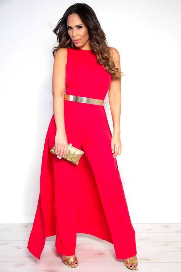 Sexy Red Sleeveless Maxi Skirt Wide Leg Jumpsuit