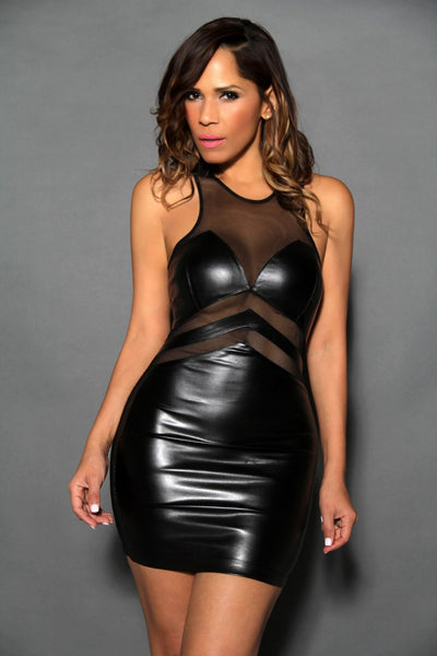 Sexy Sleeveless Black Faux Leather Clubbing Mini Dress With Mesh Insets - MY SEXY STYLES  - 1