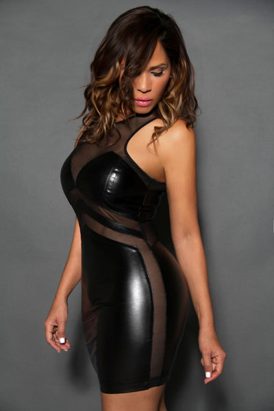 Sexy Sleeveless Black Faux Leather Clubbing Mini Dress With Mesh Insets - MY SEXY STYLES  - 3