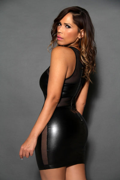 Sexy Sleeveless Black Faux Leather Clubbing Mini Dress With Mesh Insets - MY SEXY STYLES  - 4