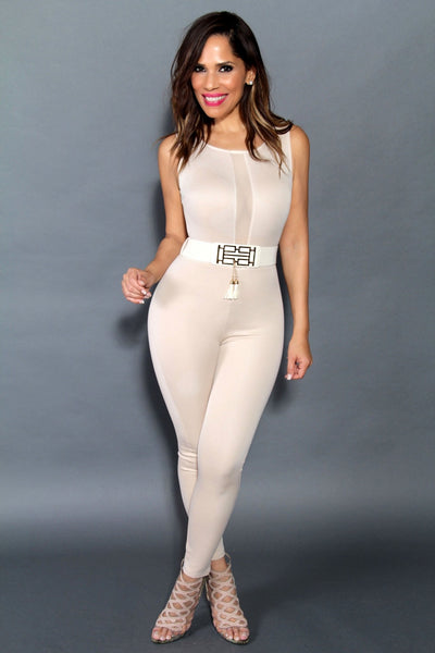 Sexy Sleeveless Jumpsuit With Sheer Cleavage In Beige (Belt Included) - MY SEXY STYLES