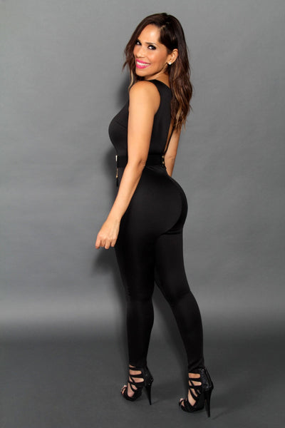 Sexy Sleeveless Jumpsuit With Sheer Cleavage In Black (Belt Included) - MY SEXY STYLES  - 3