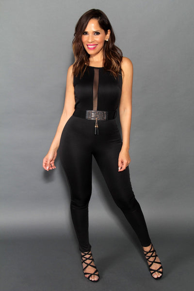 Sexy Sleeveless Jumpsuit With Sheer Cleavage In Black (Belt Included) - MY SEXY STYLES