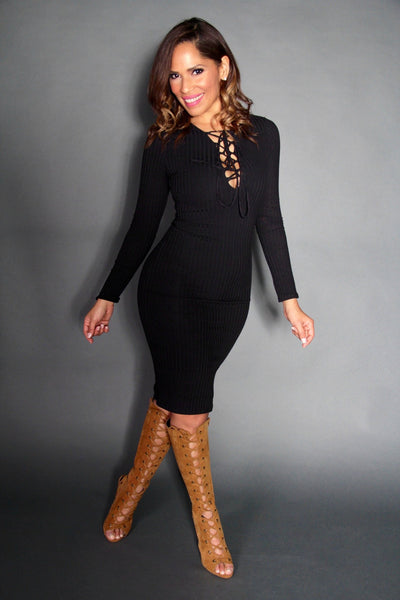 Sexy Strapped V-Neck Long Sleeved Midi Dress In Black - MY SEXY STYLES