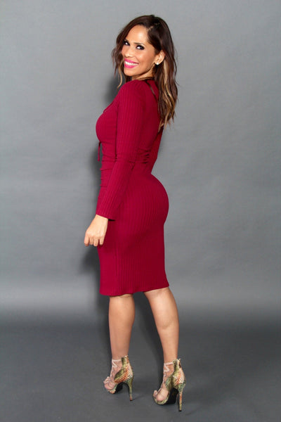 Sexy Strapped V-Neck Long Sleeved Midi Dress In Burgundy - MY SEXY STYLES