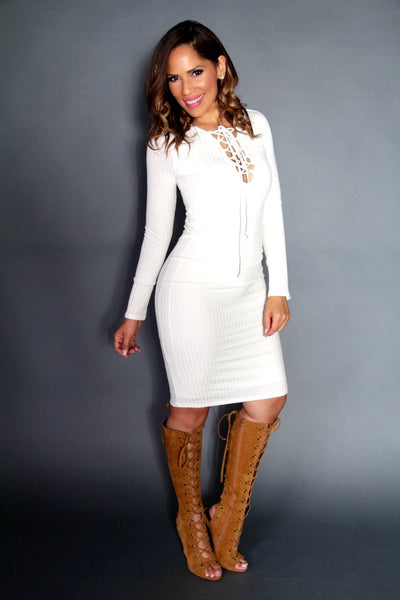 Sexy Strapped V-Neck Long Sleeved Midi Dress In Ivory - MY SEXY STYLES