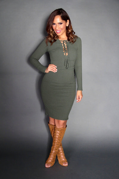 Sexy Strapped V-Neck Long Sleeved Midi Dress In Olive - MY SEXY STYLES
