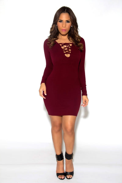 Sexy Strapped V-Neck Long Sleeved Mini Dress In Burgundy - MY SEXY STYLES  - 2