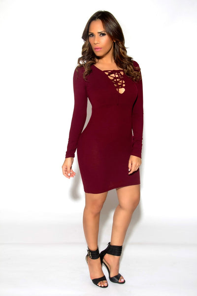 Sexy Strapped V-Neck Long Sleeved Mini Dress In Burgundy - MY SEXY STYLES  - 3