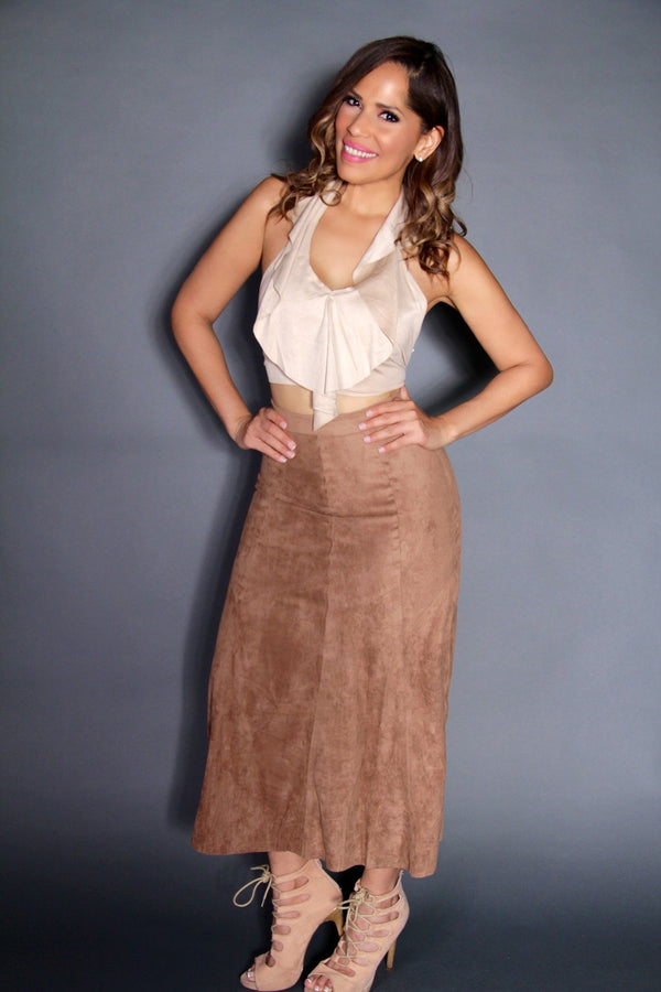 Sexy Suede Halter Crop Top and High Waist Maxi Skirt Two Piece Set - MY SEXY STYLES  - 3