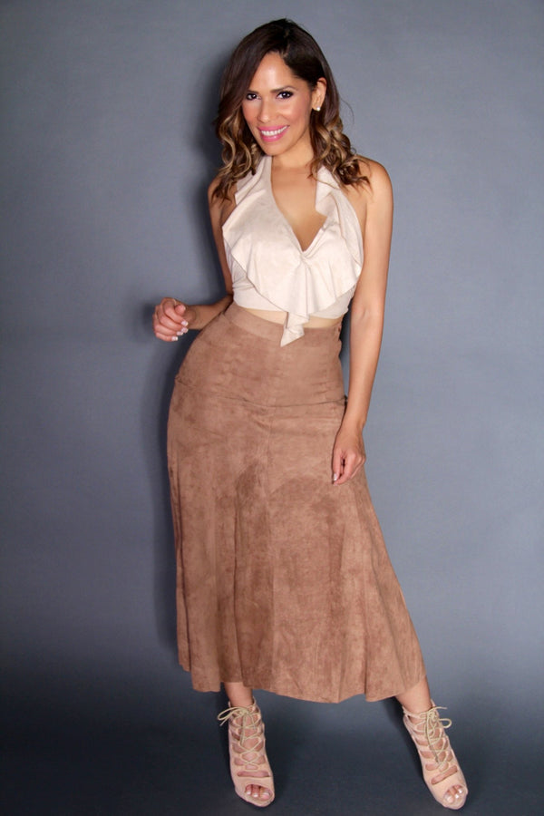 Sexy Suede Halter Crop Top and High Waist Maxi Skirt Two Piece Set - MY SEXY STYLES