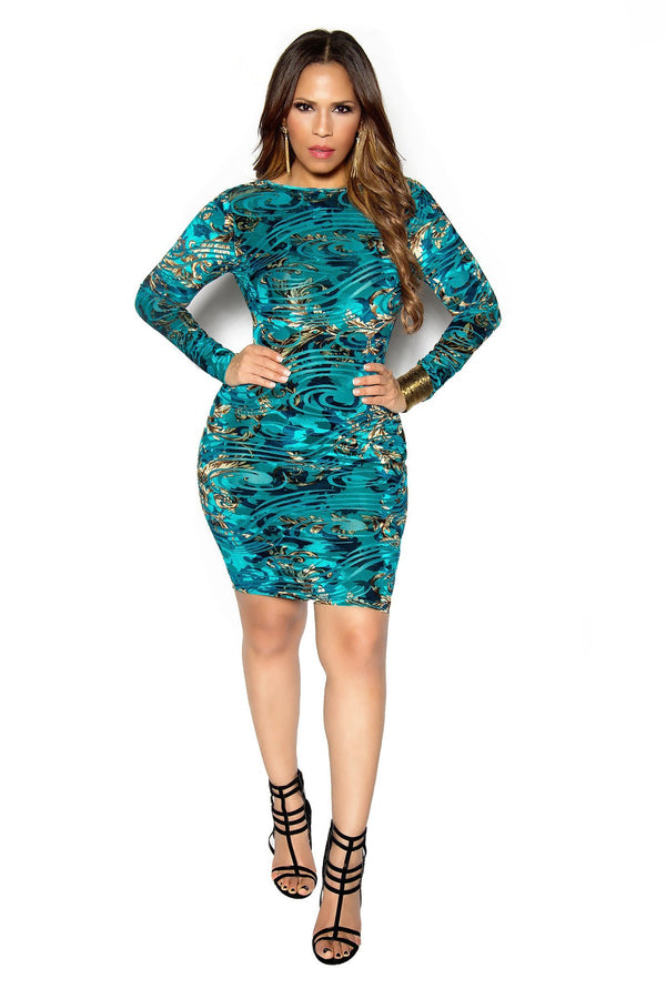 Sexy Teal Abstract Baroque Print Plunging Bodycon Dress