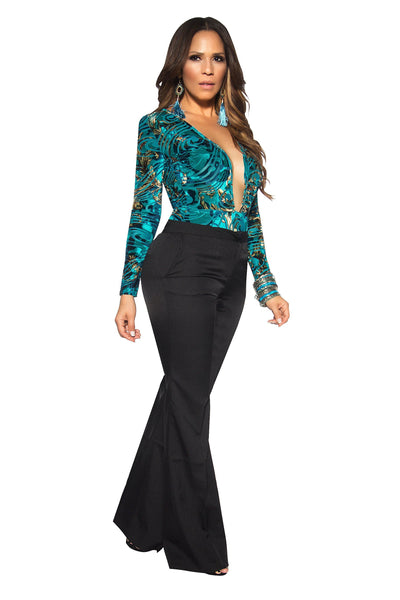Sexy Teal Abstract Baroque Print Plunging Bodysuit - MY SEXY STYLES