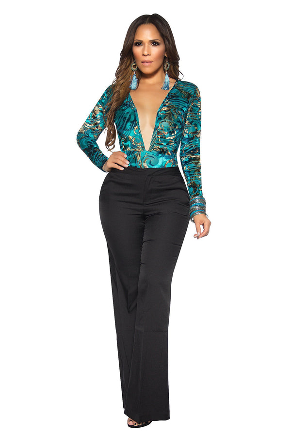 Sexy Teal Abstract Baroque Print Plunging Bodysuit