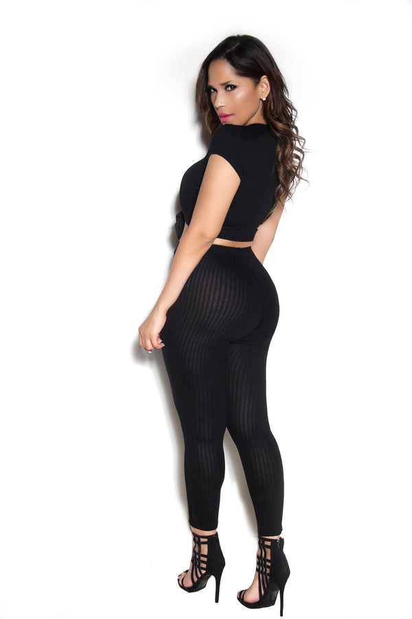 Sexy Top & Leggings Ribbed Set In Black - MY SEXY STYLES  - 3