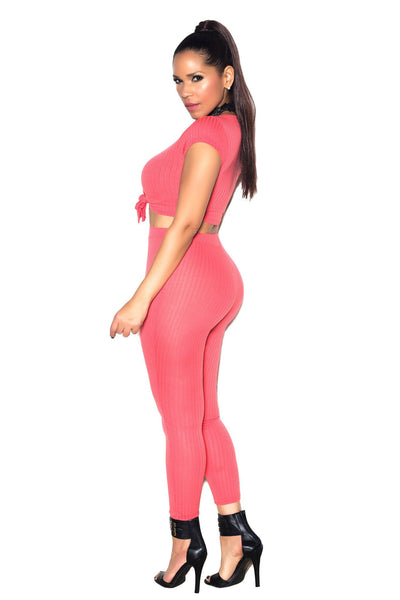 Sexy Top & Leggings Ribbed Set In Coral - MY SEXY STYLES  - 3