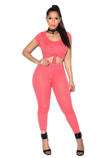 Sexy Top & Leggings Ribbed Set In Coral - MY SEXY STYLES  - 1