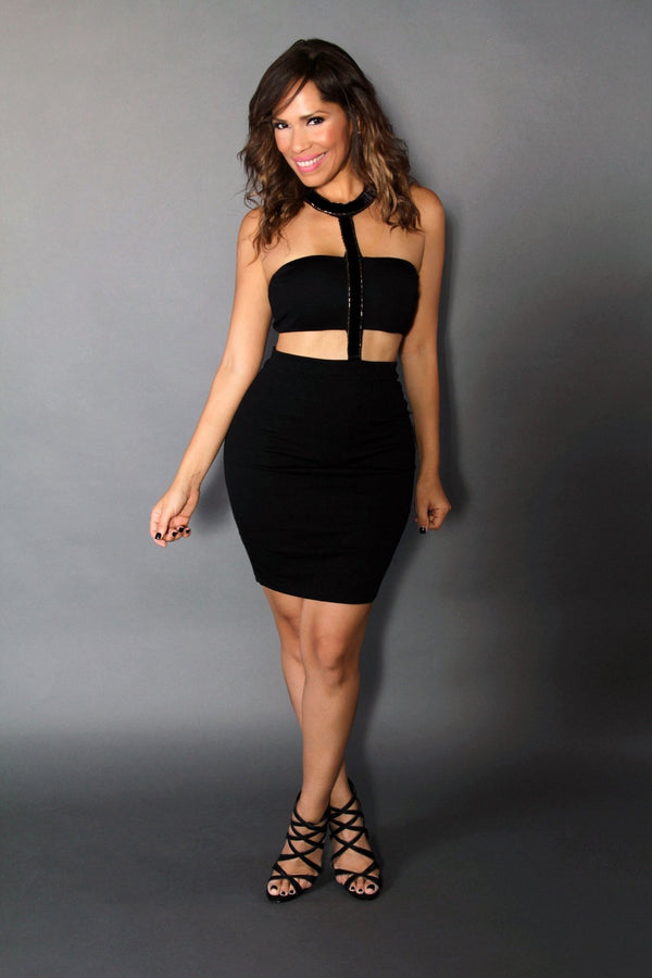 Sexy Two Piece Attached Black Party Dress - MY SEXY STYLES