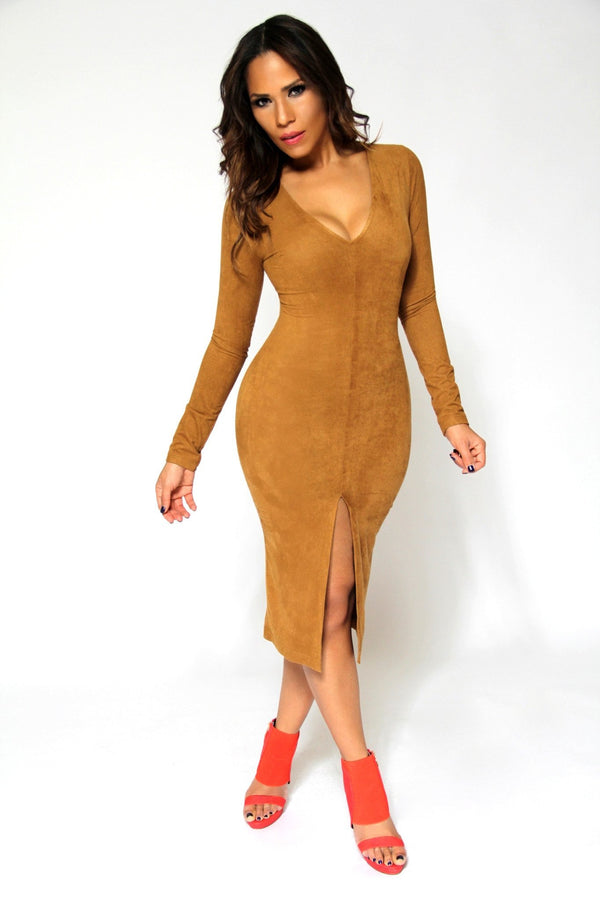Sexy V-Neck Camel Suede Long Sleeved Midi Dress With Front Slit - MY SEXY STYLES