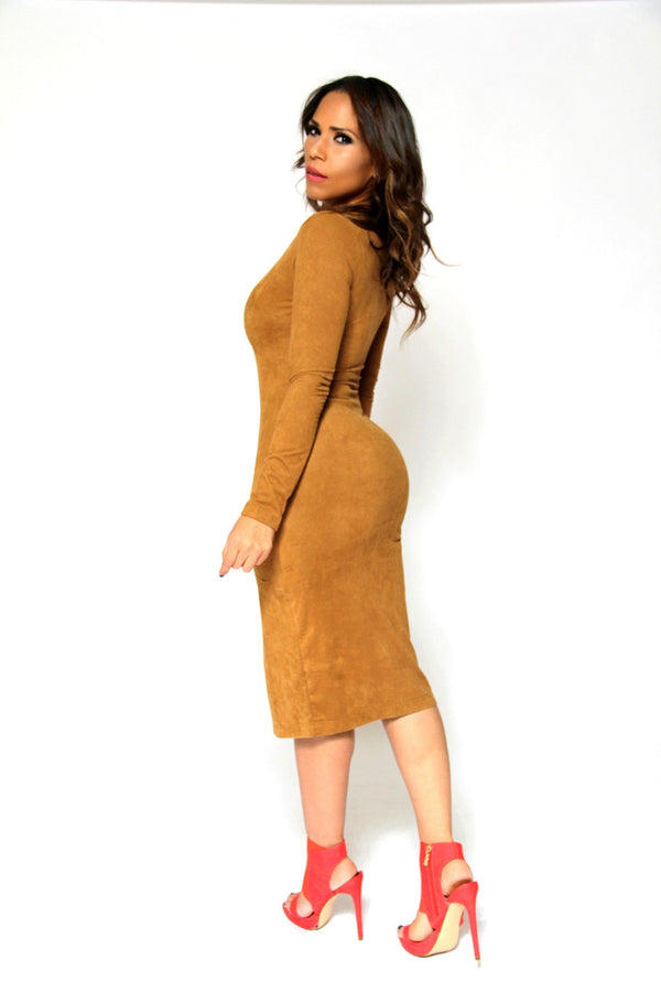 Sexy V-Neck Camel Suede Long Sleeved Midi Dress With Front Slit - MY SEXY STYLES  - 3