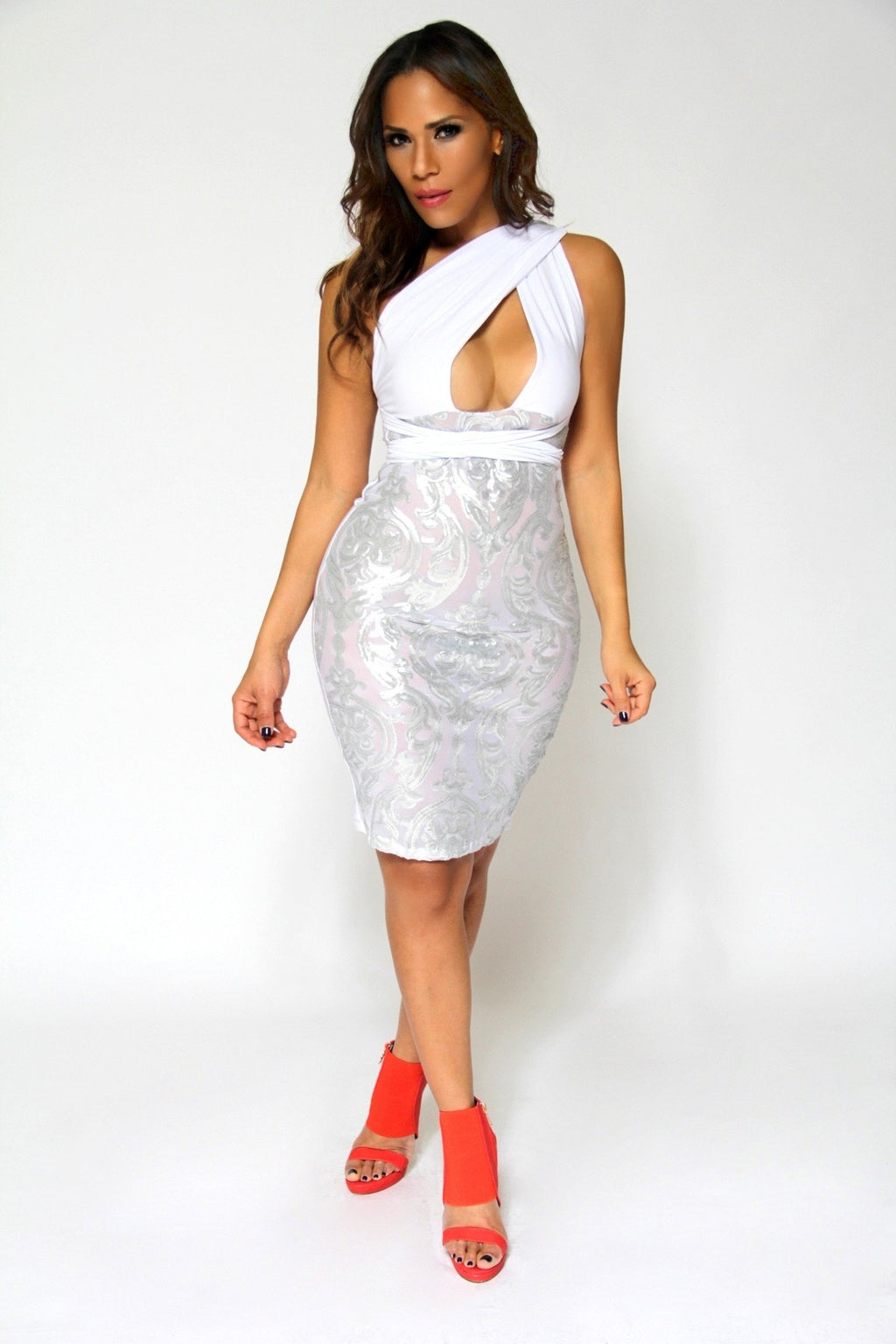 1d898036cc Sexy White Crossed Over Shoulder W  Sheer Metallic Lace Skirt Cocktail Dress.    24.99.   69.00. QUICK VIEW. Sale. Sophisticated High Low Textured  Strapless ...