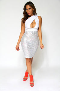 Sexy White Crossed Over Shoulder W/ Sheer Metallic Lace Skirt Cocktail Dress - MY SEXY STYLES