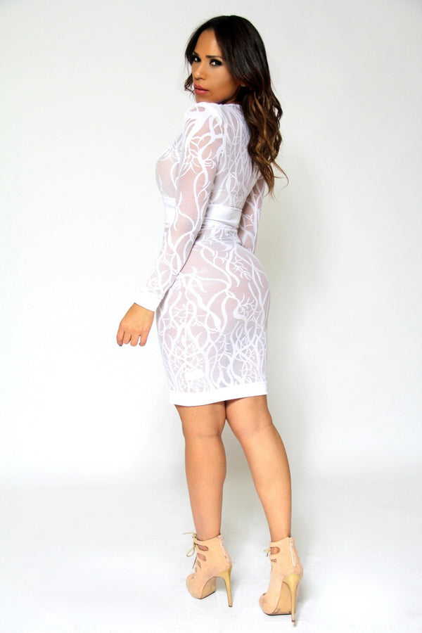 Sexy White V-Neck Long Sleeves Sheer Lace Bodycon Midi Dress - MY SEXY STYLES  - 7
