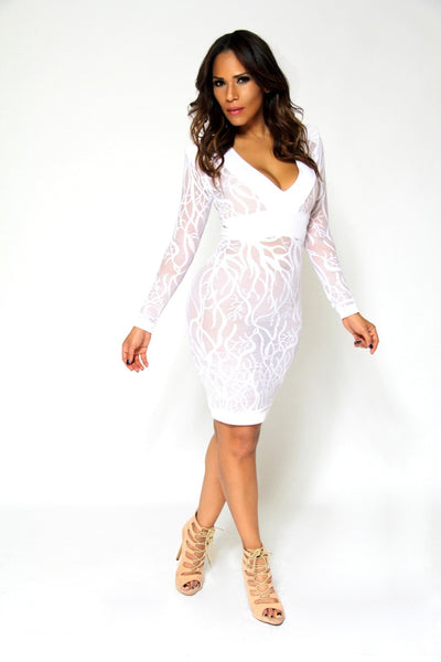 Sexy White V-Neck Long Sleeves Sheer Lace Bodycon Midi Dress - MY SEXY STYLES