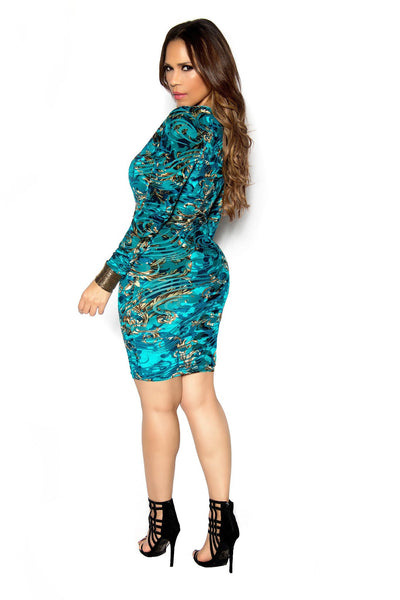 Sexy Teal Abstract Baroque Print Plunging Bodycon Dress - MY SEXY STYLES