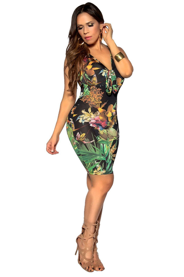 Sleeveless Bodycon Multicolor Flower Print Casual Dress
