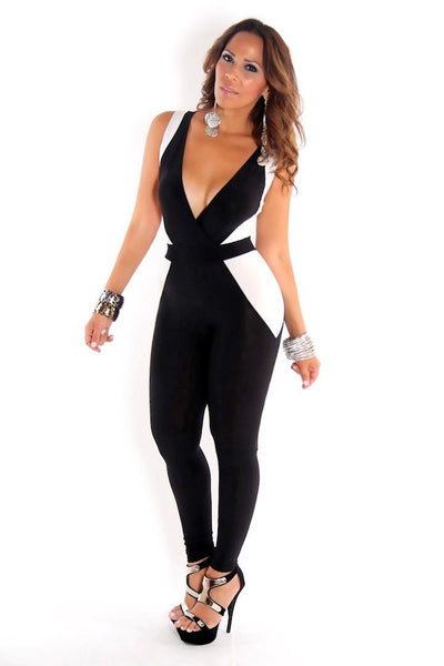 Sleeveless Black And White V-Neck Cocktail Jumpsuit - MY SEXY STYLES  - 2