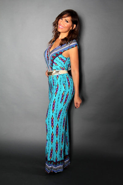 Sleeveless Blue Multicolor Print Casual Jumpsuit - MY SEXY STYLES