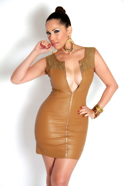 Sleeveless Camel Faux Leather Mini Dress With Lace Insets - MY SEXY STYLES  - 1