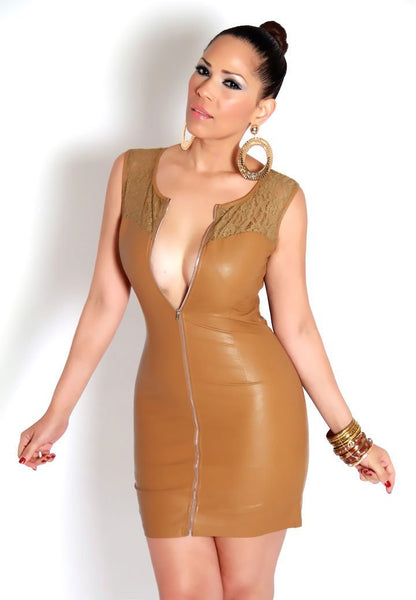Sleeveless Camel Faux Leather Mini Dress With Lace Insets - MY SEXY STYLES  - 3
