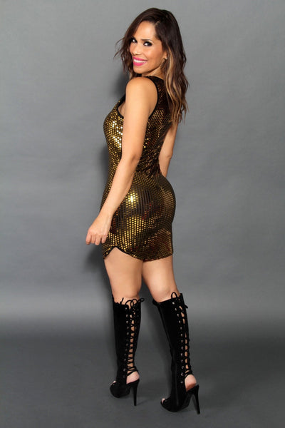 Sleeveless Golden Bodycon Mini Dress - MY SEXY STYLES