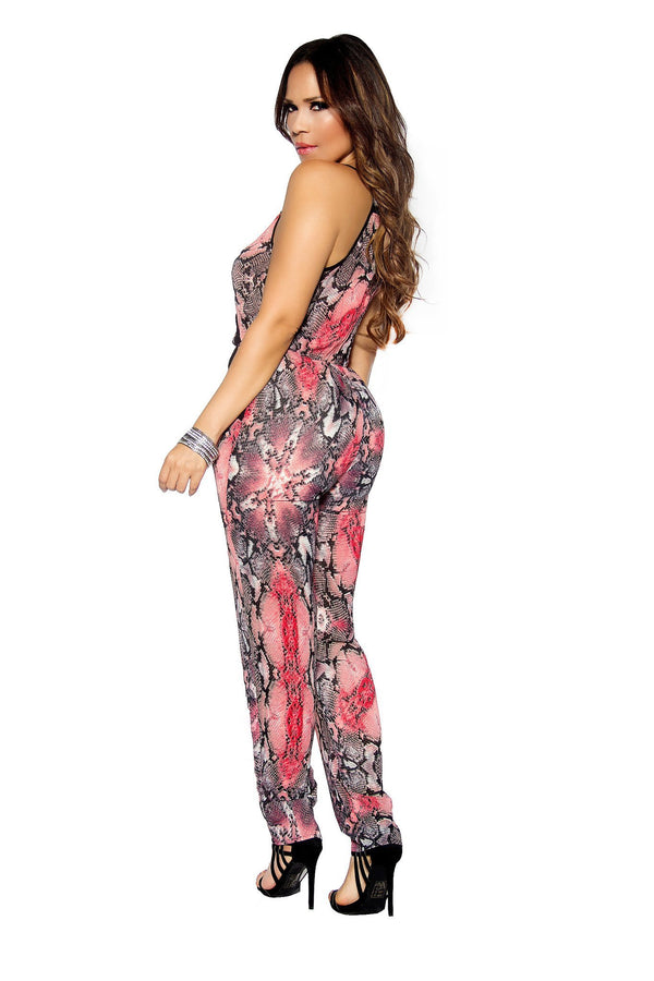 Coral Sleeveless Multi Snake Print  Casual Jumpsuit - MY SEXY STYLES