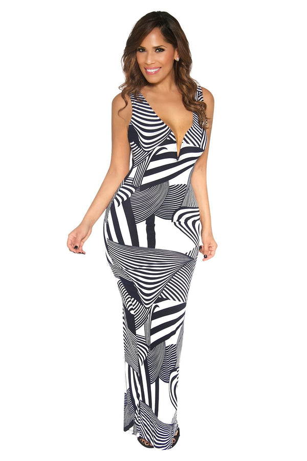 Sleeveless Navy Blue Zebra Print Bodycon Maxi Dress - MY SEXY STYLES