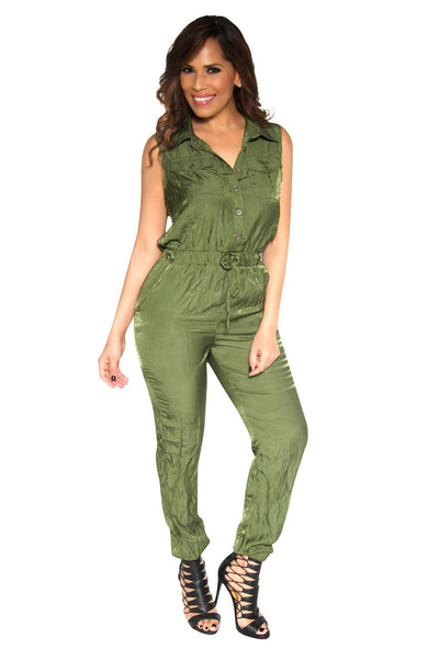 Sleeveless Olive Safari Jumpsuit - MY SEXY STYLES