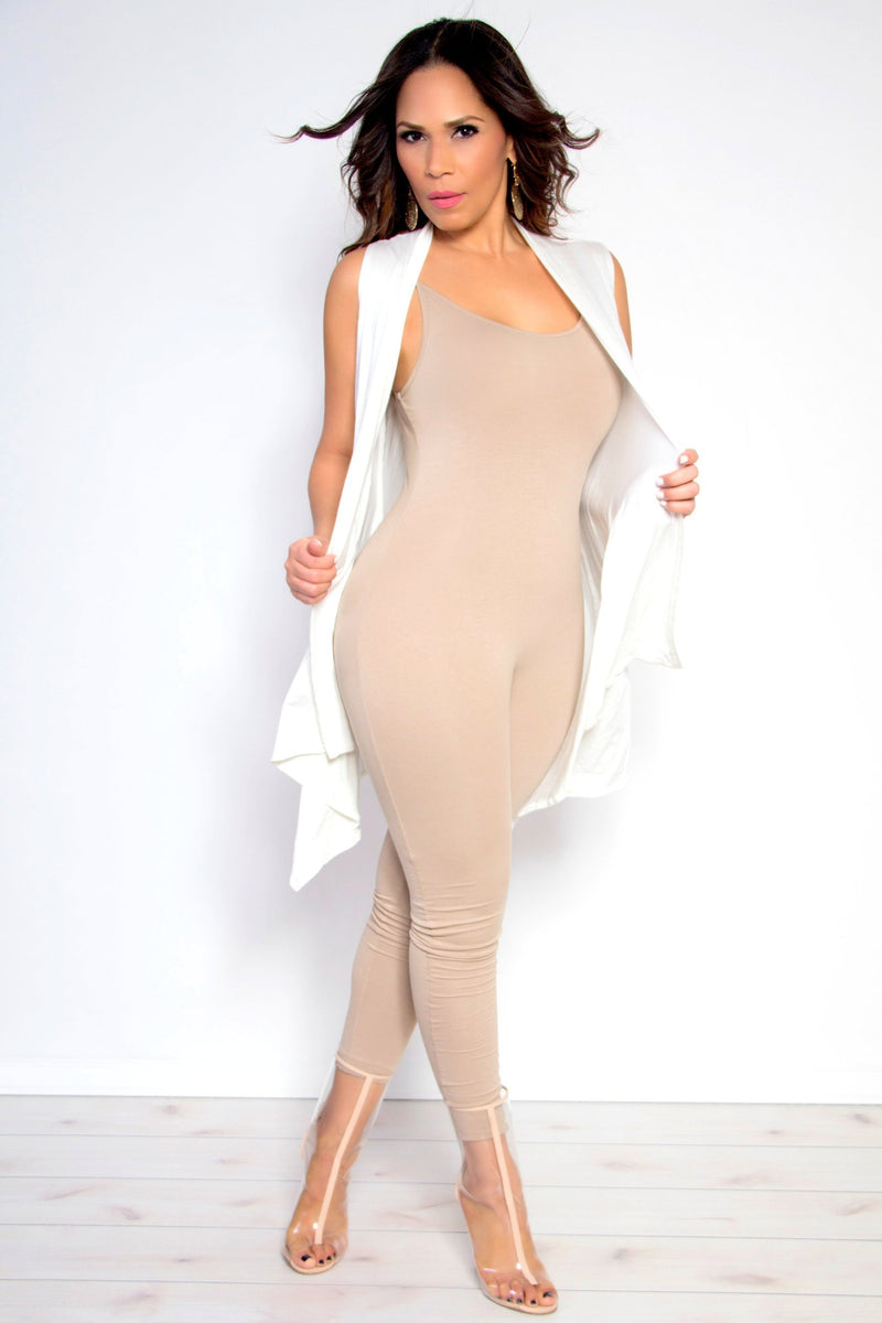 Maria Sleeveless Open Front Draped Solid Casual Mid Length High Low Cardigan in Ivory - MY SEXY STYLES