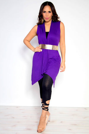 Audrey Sleeveless Open Front Draped Solid Casual Mid Length High Low Cardigan in Purple - MY SEXY STYLES