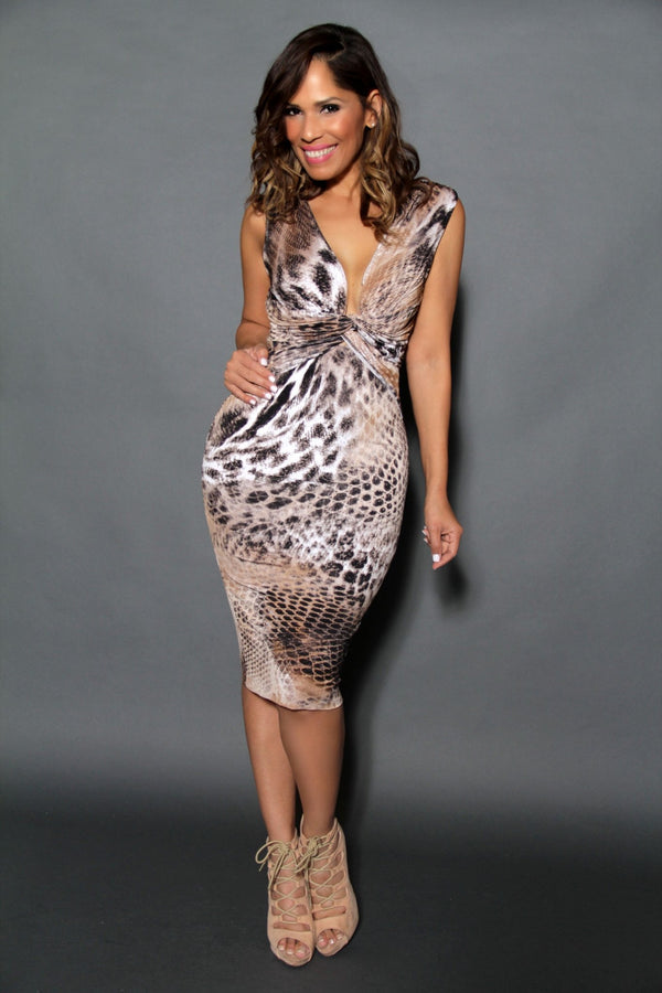 Sleeveless V-Neck Brown Snake Print Cocktail Midi Dress - MY SEXY STYLES