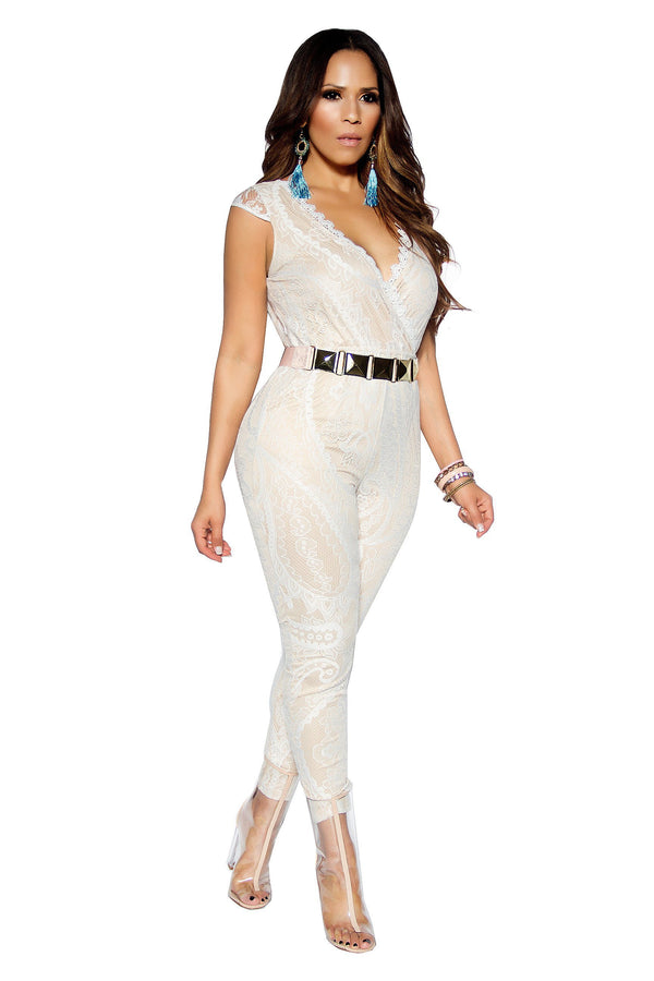 Sleeveless V-Neck Ivory Lace On Nude Jumpsuit