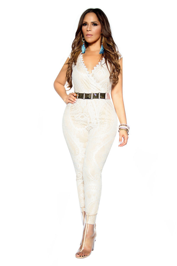 Sleeveless V-Neck Ivory Lace On Nude Jumpsuit - MY SEXY STYLES