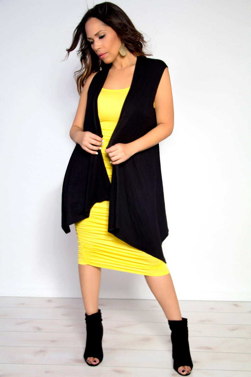 Sleeveless Open Front Draped Solid Casual Mid Length High Low Cardigan in Black